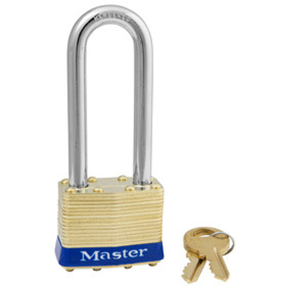 Master Lock 2KALJ 1-3/4in (44mm) Wide Laminated Brass Pin Tumbler Padlock with 2-1/2in (64mm) Shackle, Keyed Alike