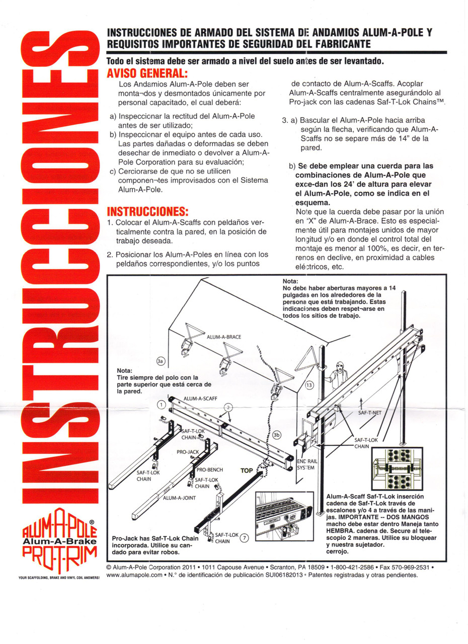 "Alum-A-Pole ""Spanish"" Pump Jack Setup Instructions"