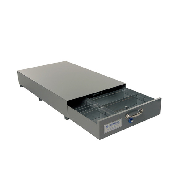 Adrian Steel #SAJ-30 Double Compartment Floor Drawer, 30w x 8.5h x 51.5d, Gray