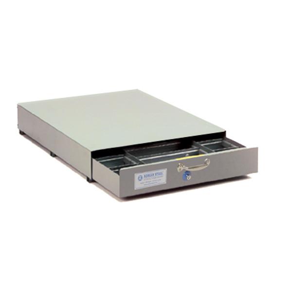 Adrian Steel #SAJ-40 Triple Compartment Floor Drawer, 40w x 8.5h x 51.5d, Gray