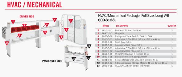 Weather Guard Model 600-8123L HVAC/Mechanical Van Package, GM Savana, Chevrolet Express, 155 WB