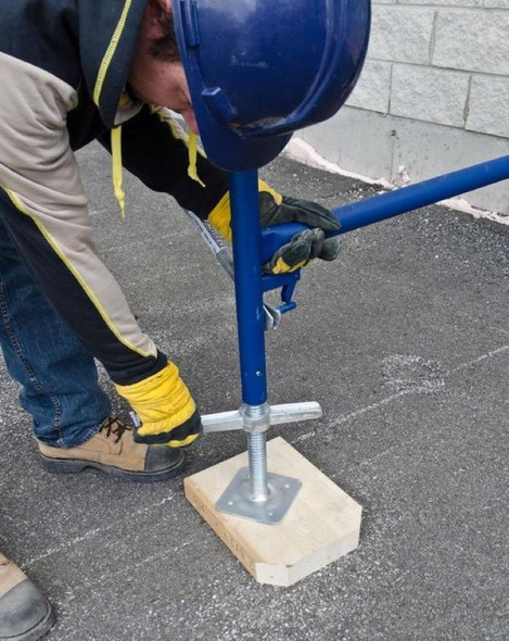 MetalTech M-MBSJP24NH Galvanized Leveling Jack with Plate – Short Handle (Hollow)