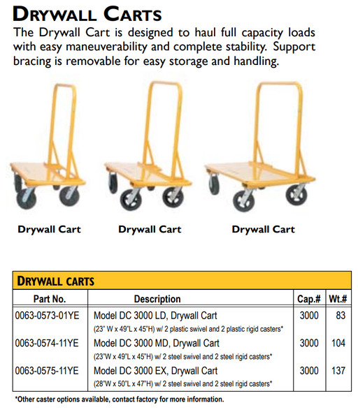 Drywall Cart #PD-3S w/4 Swivel Casters