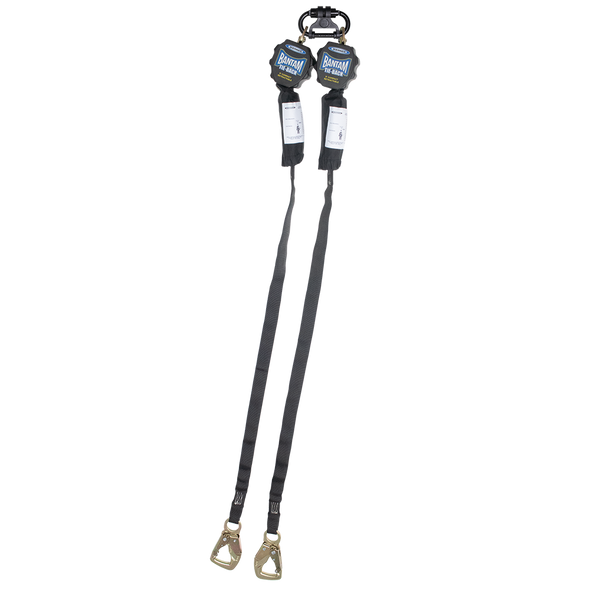 "Werner R431006TB 9FT ""Bantam"" Twin-Leg TIE-BACK Web Self-Retracting Lifeline w/ Steel Tie-Back - Snap Hook"