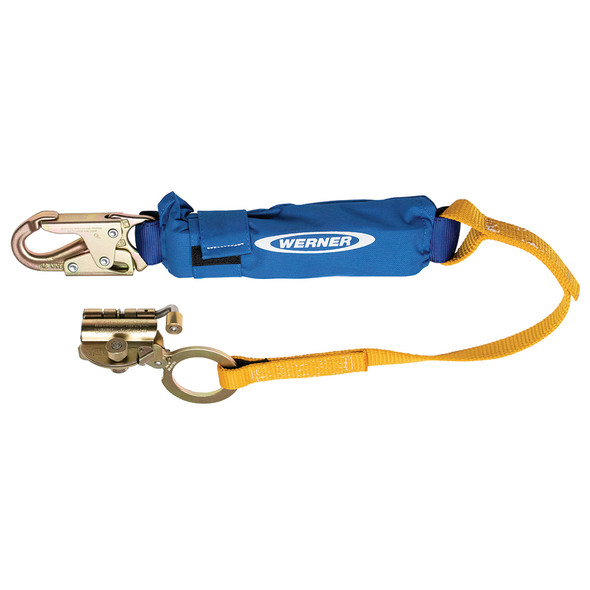 Werner L250001 Steel Trailing Rope Grab with 3ft Shock Absorbing Lanyard Moves Up and Down Vertical Lifelines for Continuous Fall Protection