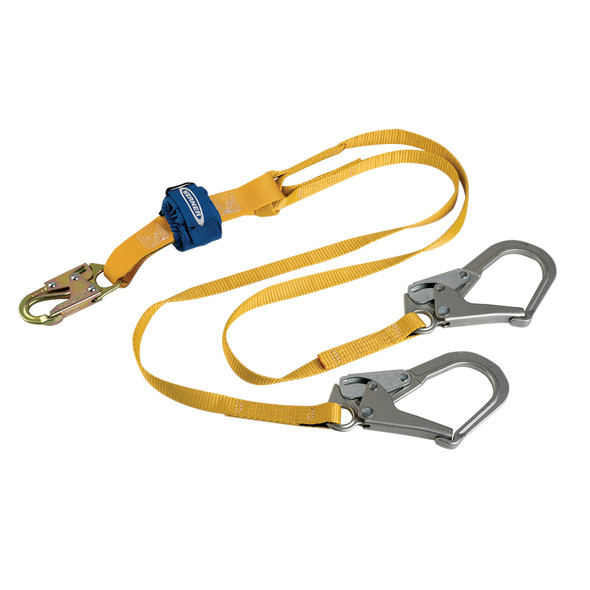 Werner DCELL Lite C611200 Twin-Leg Lanyard features a Compact Shock Pack | Snap Hook - Rebar Hook