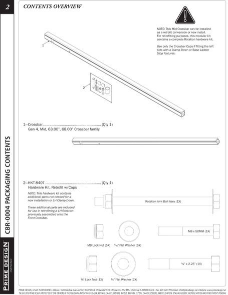 "Prime Design ""ErgoRack"" CBR-0004 MIDDLE CROSSBAR KIT, USE WITH CBR-0003"