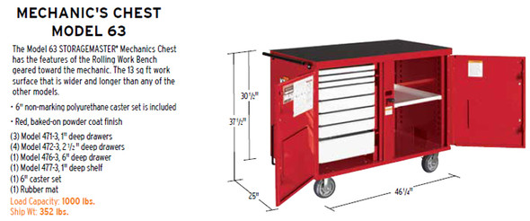 Knaack Model 63 STORAGEMASTER Mechanics Chest, 1,000 lbs