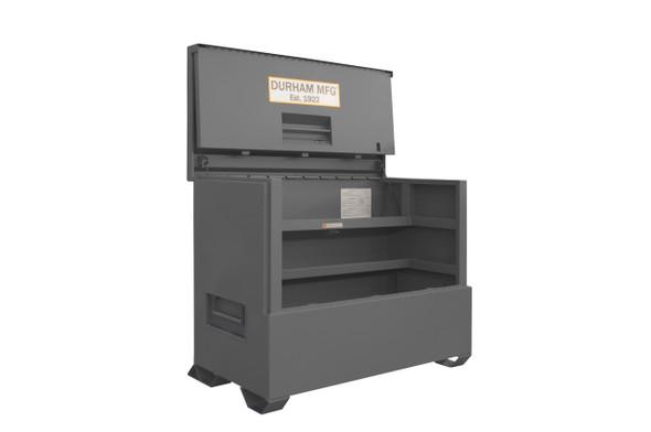 Durham Jobsite Piano Box, 47.8 cu. ft., 14 Gauge Steel, 60-1/2 x 34-3/4 x 49-3/8, Gray