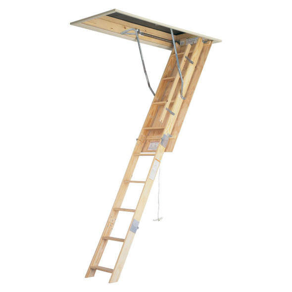 "Werner W2510 Wood Attic Ladders | 10' Ceiling Height | 25"" x 54"" Opening 