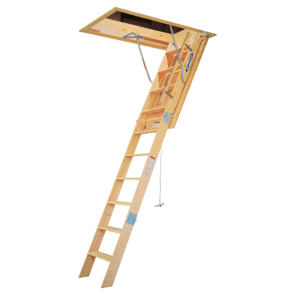 "Werner WH2210 Heavy Duty Wood Attic Ladder | 10' Ceiling Height | 22.5"" x 54"" Opening 