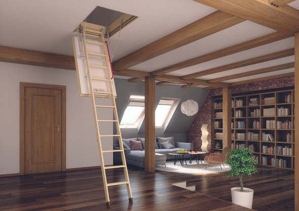 "Fakro 66895 LWT Thermo Wood Attic Ladders | 30"" x 54"" Opening 