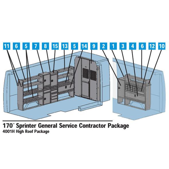 Adrian Steel 4001H - Sprinter General Service Starter Package, Gray, Sprinter High Roof, 170''