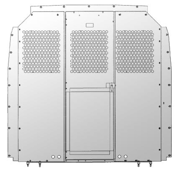 Adrian Steel #S2M2HC2SPS Steel Partition Panel Kit w/ Visibility & Door Kit, Gray, Sprinter Low Roof