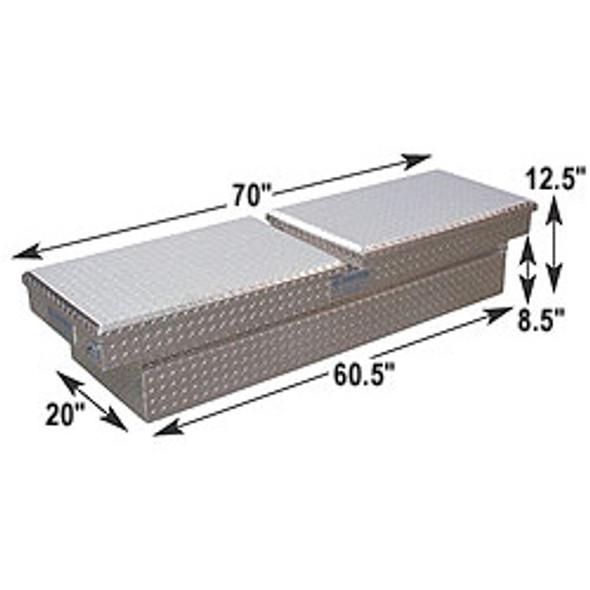 Adrian Steel #AD200 Aluminum Double Lid Crossbox, 70w x 12.5h x 20d