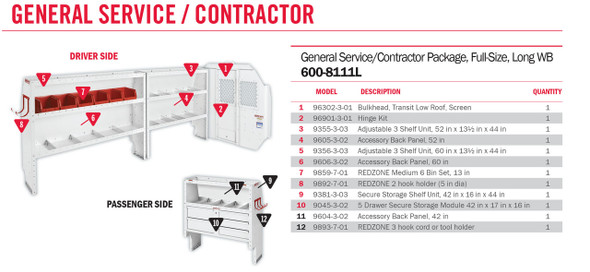 Weather Guard Model 600-8111L General Service/Contractor Van Package, Full-Size, Ford Transit, 148 WB