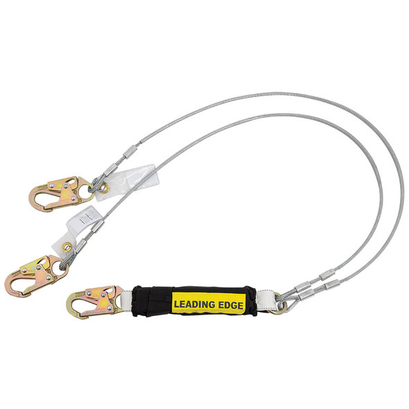 Werner C461120LE Twin Leg - Cable LEADING EDGE Lanyard - Snap Hook