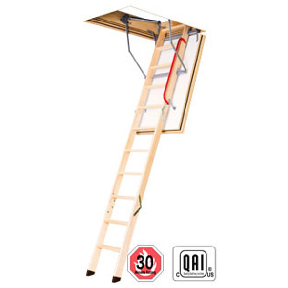 "Fakro LWF 869716 Wood Attic Ladder | ""FIRE RATED"" & ""Insulated"" 