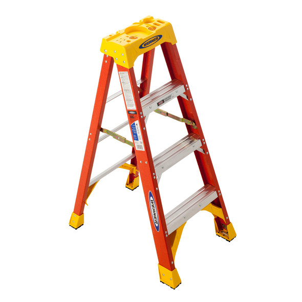 Werner 6204 | 4 Ft Fiberglass Stepladder / 300 lb Rated