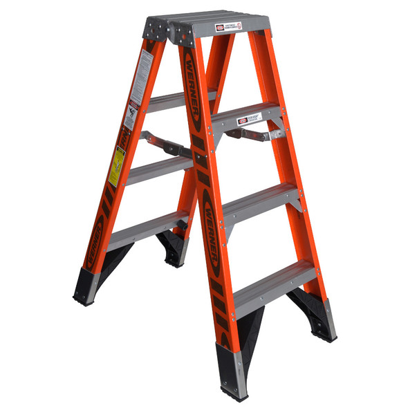 Werner T7404 | 4 Ft Fiberglass Twin Stepladder / Type IAA 375 lb Rating