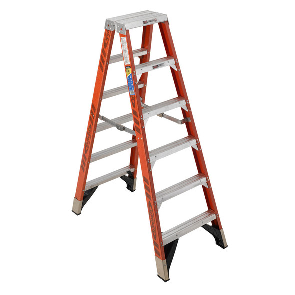 Werner T7406 | 6 Ft Fiberglass Twin Stepladder / Type IAA 375 lb Rating