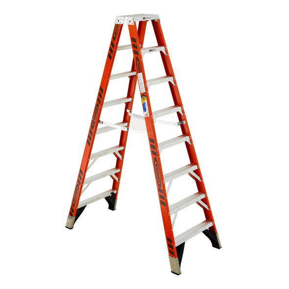 Werner T7408 | 8 Ft Fiberglass Twin Stepladder / Type IAA 375 lb Rating