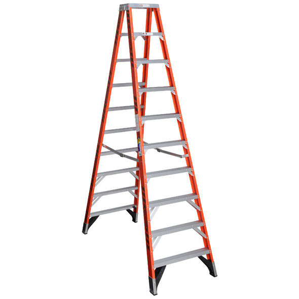 Werner T7410 | 10 Ft Fiberglass Twin Stepladder / Type IAA 375 lb Rating