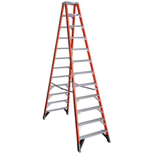 Werner T7412 | 12 Ft Fiberglass Twin Stepladder / Type IAA 375 lb Rating