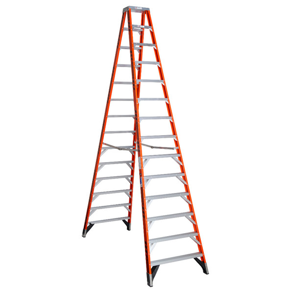 Werner T7414 | 14 Ft Fiberglass Twin Stepladder / Type IA 300 lb Rating