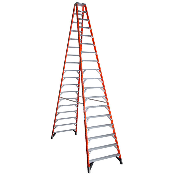 Werner T7418 | 18 Ft Fiberglass Twin Stepladder / Type IA 300 lb Rating