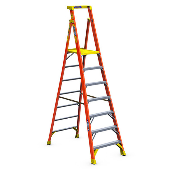 Werner PD6207   7 Ft Fiberglass Podium Ladder / Type IA 300 lb Rating