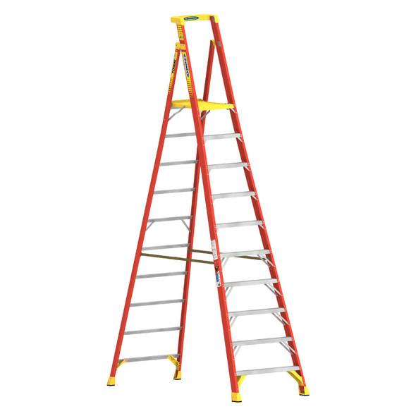 Werner PD6210   10 Ft Fiberglass Podium Ladder / Type IA 300 lb Rating