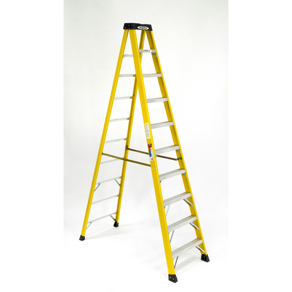 Werner 6110 | 10 Ft Fiberglass Stepladder / Type IA 300 lb Rated