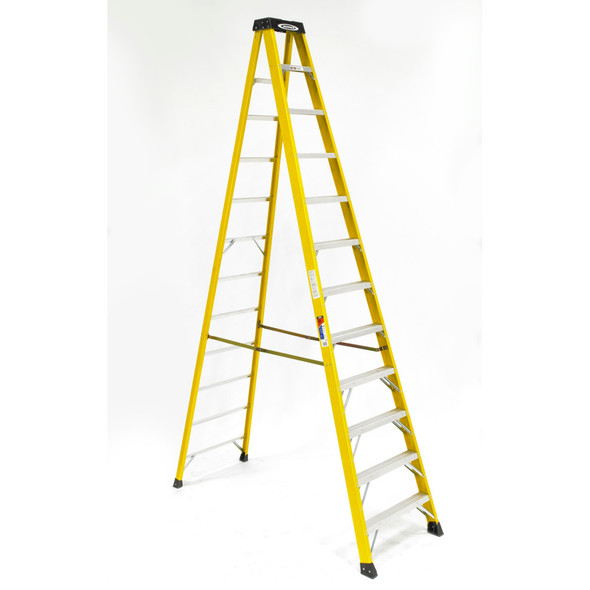 Werner 6112 | 12 Ft Fiberglass Stepladder / Type IA 300 lb Rated