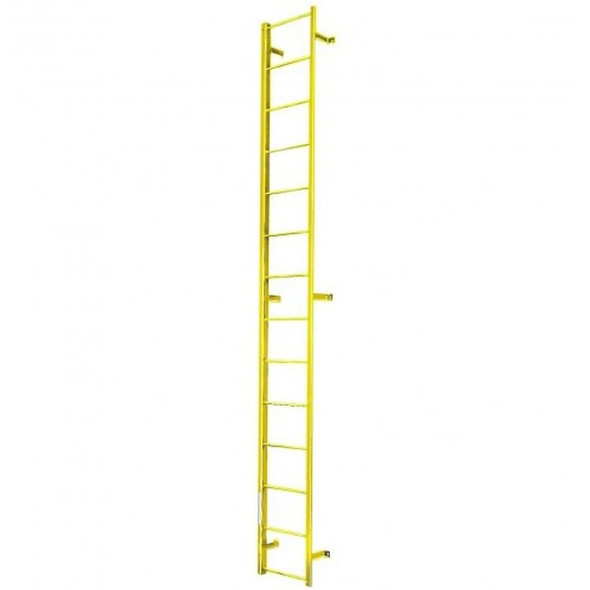 Cotterman - F16S Fixed Steel Ladder | 1 Section / Overall Length 15 Ft 3 In / No Handrail
