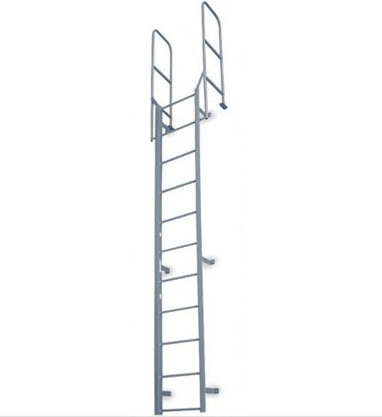 Cotterman - F10W Fixed Steel Wall Ladder w/ Walk Thru-Rail | 1 Section | 12 Ft 8 In