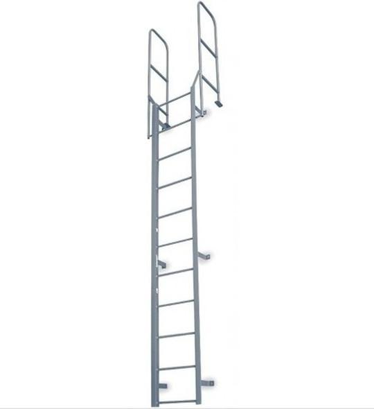Cotterman - F12W Fixed Steel Wall Ladder w/ Walk Thru-Rail | 1 Section | 14 Ft 8 In