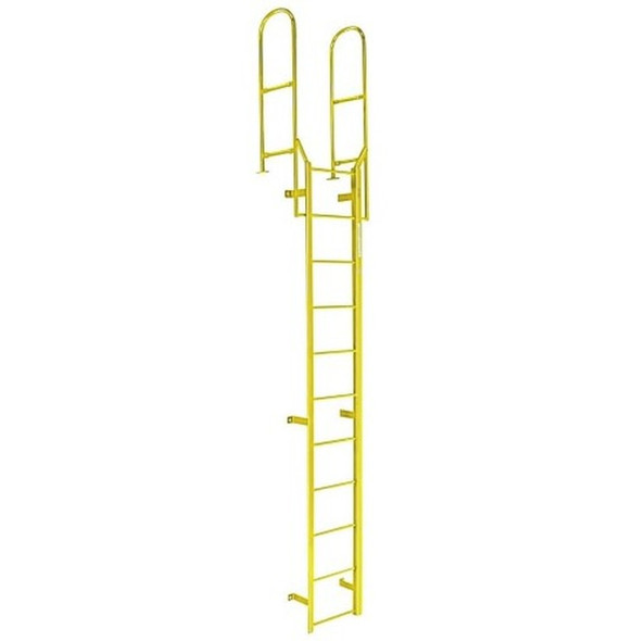 Cotterman - F15W Fixed Steel Wall Ladder w/ Walk Thru-Rail | 1 Section | 17 Ft 8 In