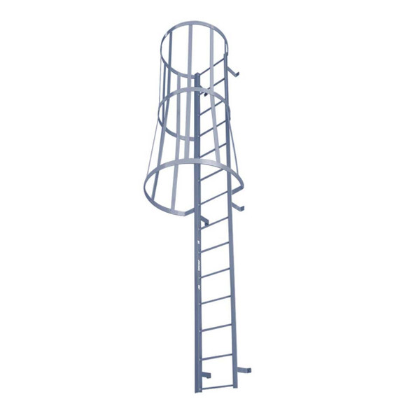 Cotterman - F28SC Fixed Steel Wall Ladder w/ Safety Cage | 2 Sections | 27 Ft 3 In