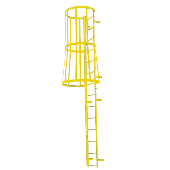 Cotterman - F19SC Fixed Steel Wall Ladder w/ Safety Cage | 2 Sections | 18 Ft 3 In