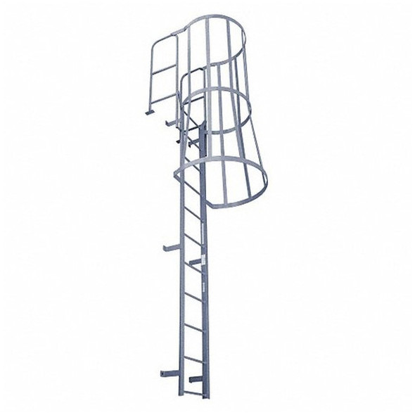 Cotterman - F18WC Fixed Steel Wall Ladder w/ Safety Cage & Walk Thru-Rail | 2 Sections | 20 Ft 8 In