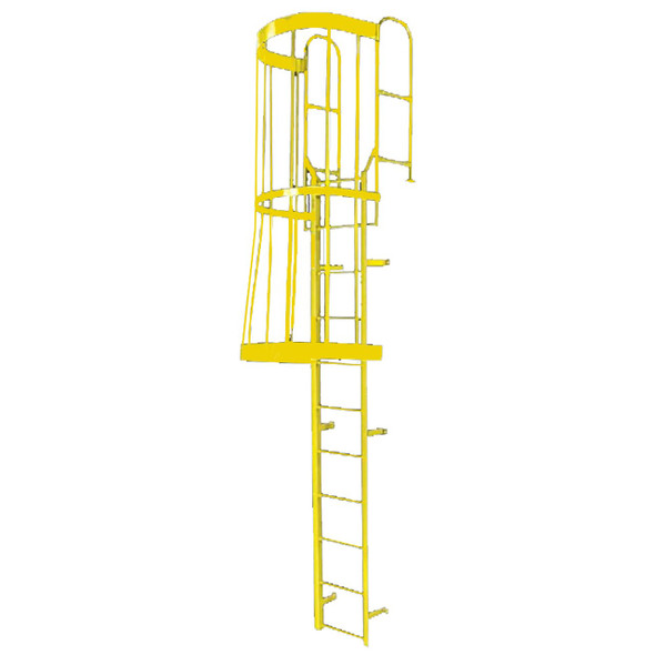 Cotterman - F19WC Fixed Steel Wall Ladder w/ Safety Cage & Walk Thru-Rail | 2 Sections | 21 Ft 8 In