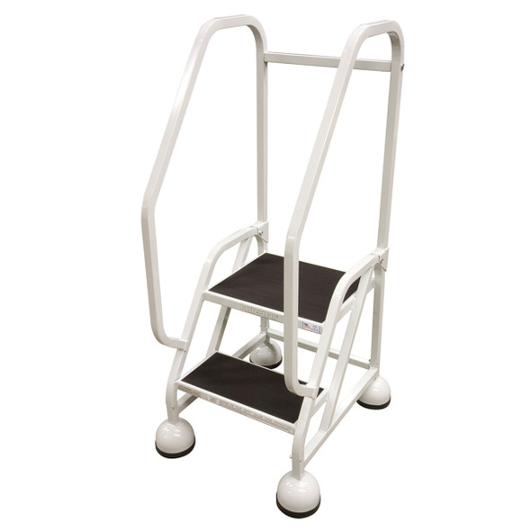 Cotterman ST-221 A2 XX P5 | MasterStep Office Ladder / 2 - Step / 18 In Platform Height / 48 In Overall Height / Double Top Step / Double Handrail