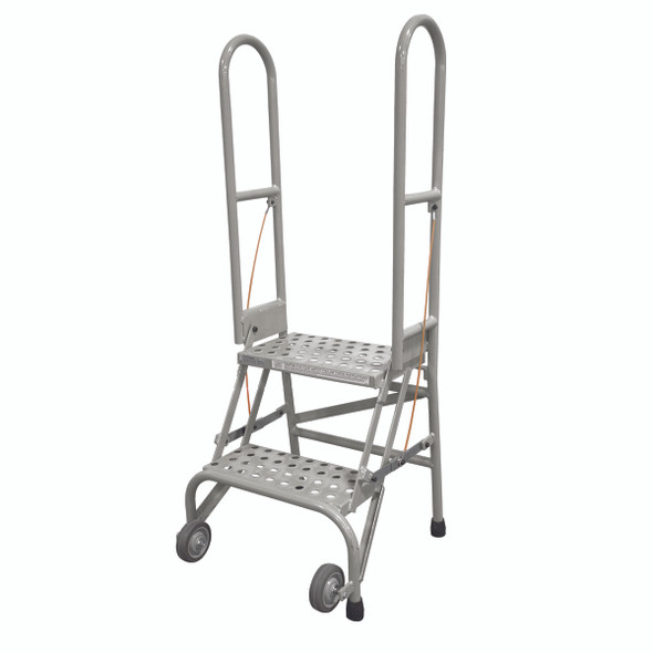 Cotterman SAS2A6 | Steel 2-Step Stock-N-Store Rolling Folding Ladder | 20 In. Top Step Height |  50 In. Overall Height | A6 Perforated Tread