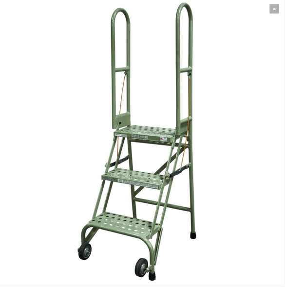 Cotterman SAS3A2 | Steel 3-Step Stock-N-Store Rolling Folding Ladder | 30 In. Top Step Height |  60 In. Overall Height | A2 Solid w/Ribbed Mat Tread