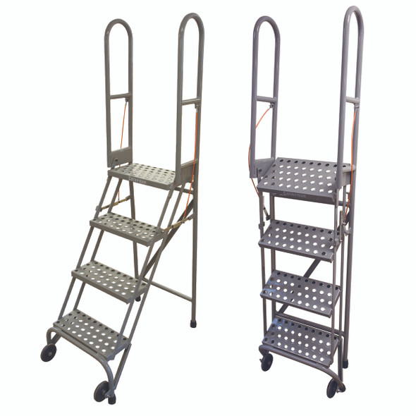 Cotterman SAS4A3 | Steel 4-Step Stock-N-Store Rolling Folding Ladder | 40 In. Top Step Height |  70 In. Overall Height | A3 Serrated Tread