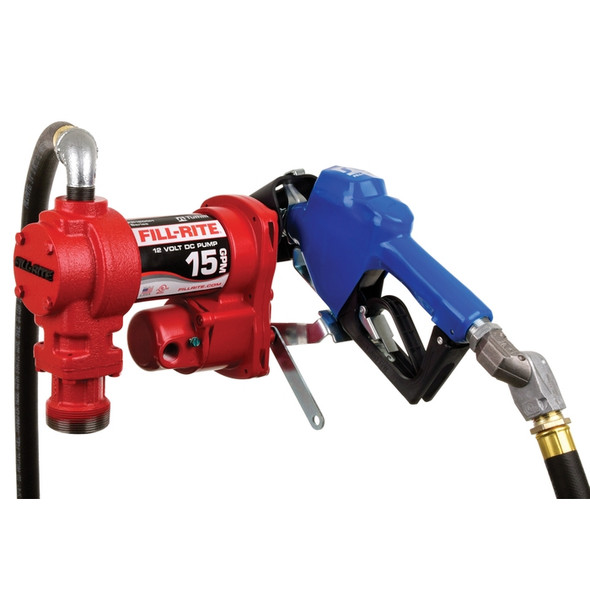"""Fill-Rite FR1210HARC 15 GPM, 12V DC Pump,  3/4"""" x 15' Arctic Hose, Automatic Arctic Nozzle (Leaded Spout and Blue Cover), 3/4"""" Single Plane Swivel, 18' 12 Gauge 2 Wire Battery Cable, Telescoping Steel Suction Pipe (20"""" to 34½""""). Rated to -40 Degrees"""