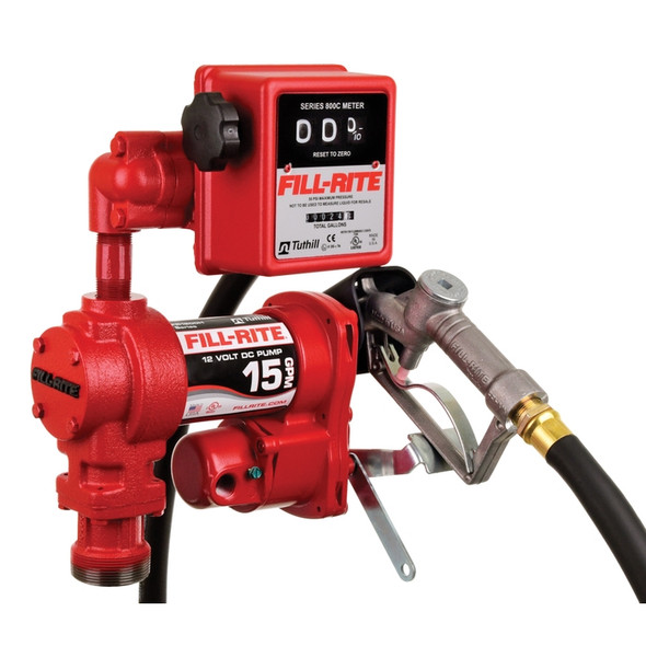 """Fill-Rite FR1211H 15 GPM, 12V DC Pump, 3/4"""" x 12' Hose, 3/4"""" Manual Nozzle, 5' Ground Wire, 18' 12 Gauge 2 Wire Battery Cable, Telescoping Steel Suction Pipe (20"""" to 34½""""), 807C Gallon Meter"""