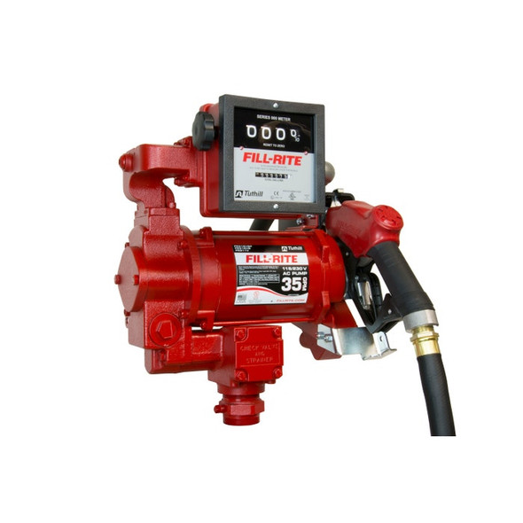 """Fill-Rite FR311VB 27 GPM, 115/230V AC 50/60 Hz Super High Flow Pump, 1"""" x 18' Hose, 1"""" Ultra High Flow Automatic Nozzle (Truck Stop Spout and Red Cover), 901C Gallon Meter"""