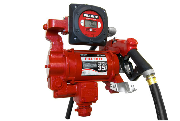"""Fill-Rite FR319VB 27 GPM, 115/230V AC 50/60 Hz Super High Flow Pump, 1"""" x 18' Hose, 1"""" Ultra High Flow Automatic Nozzle (Truck Stop Spout and Red Cover), 900CD Digital Meter, DIESEL ONLY."""